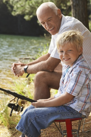 Grandfather and Grandson Fishing Stock Photo - 12514272