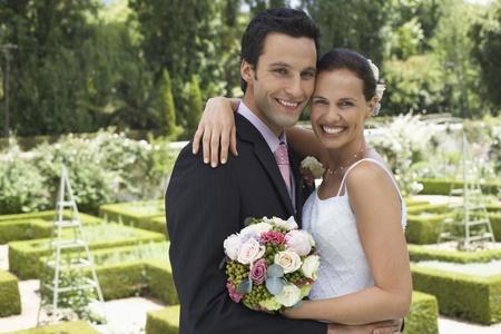 wedding photography: Happy Wedding Couple Outdoors
