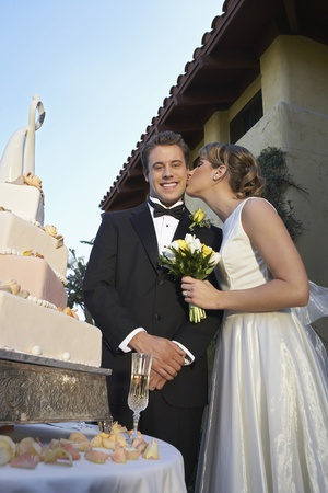 Bride kissing groom near wedding cake portrait Stock Photo - 12547953