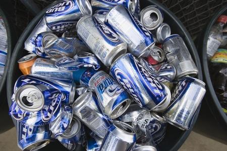 Empty drink cans in bin Stock Photo - 12548110