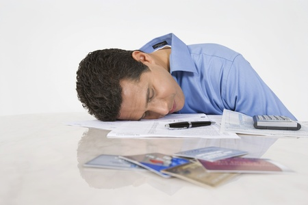Man Exhausted from Paying Bills Stock Photo - 12548191