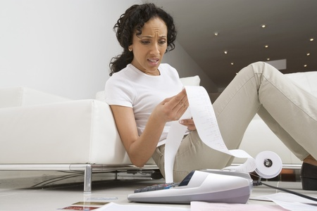 Woman Worried About Finances Stock Photo - 12548326