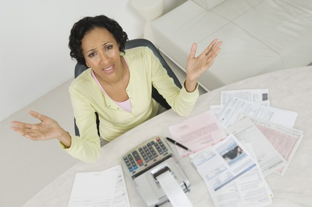 age 35 40 years: Woman Worried About Finances LANG_EVOIMAGES