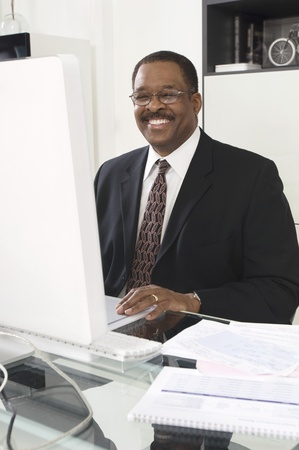 Businessman Using a Computer Stock Photo - 12548377