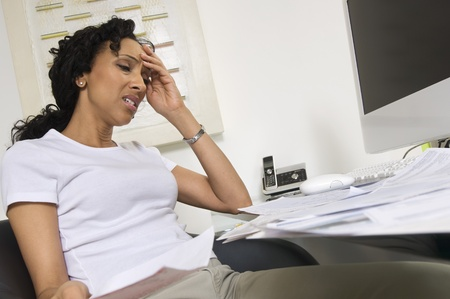 worrying: Worried Woman Doing Finances