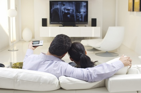 shot from behind: Couple Watching TV