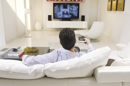 Man Watching TV Stock Photo - 12548438
