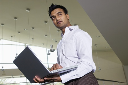 30 to 35 year olds: Businessman Using a Laptop LANG_EVOIMAGES