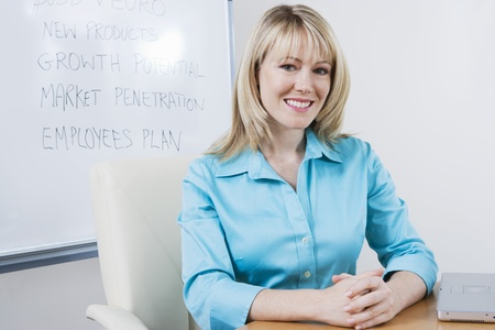 Woman Sitting in Front of Whiteboard Stock Photo - 12548543