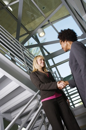 racially diverse: Businesswomen Shaking Hands LANG_EVOIMAGES