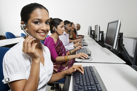 Customer Service Reps in Call Center Stock Photo - 12592358