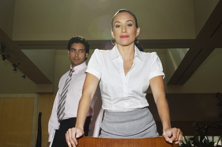 low blouse: Young business people in office