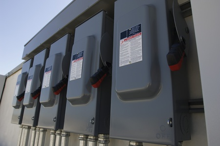 Electrical Breaker Boxes at Solar Power Plant Stock Photo - 12592588