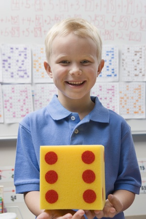 6 7 year old: Elementary Student with Large Die