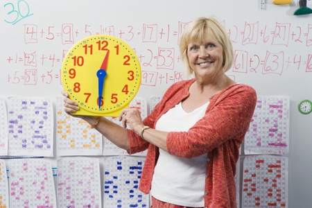 late fifties: Teacher Showing Class a Clock