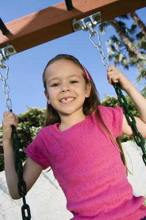 6 7 year old: Little Girl Swinging