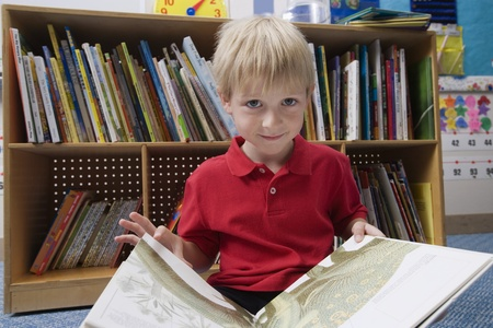6 7 year old: Little Boy Reading  Picture Book