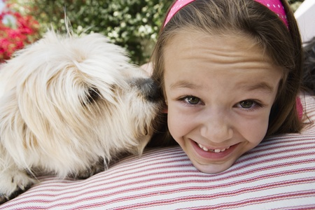 fond of children: Little Girl with Her Pet Dog