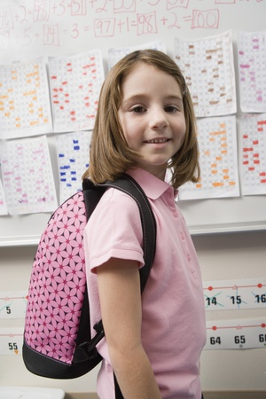 Elementary Student Wearing Backpack Stock Photo - 12592821