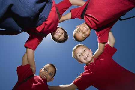 view from below: Elementary Students in Circle
