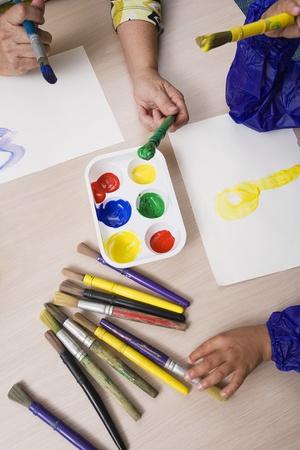 Lehrer und Schüler Malerei Standard-Bild