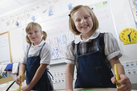 Elementary Students Painting During Art Class Stock Photo - 12592857