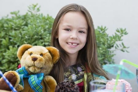 6 7 year old: Girl with Teddy Bear