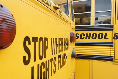 Stop When Red Lights Flash on School Bus Stock Photo - 12592920