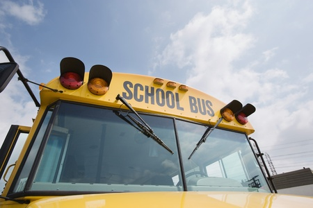 motorbus: Caution Lights and Windshield of School Bus