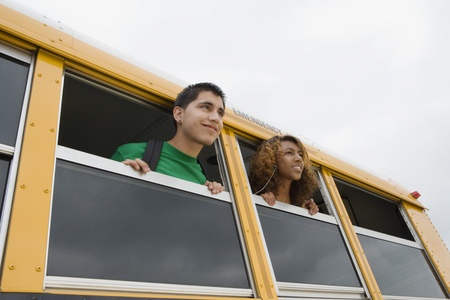 teenaged boys: High School Students on a Bus LANG_EVOIMAGES