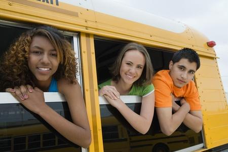 Teenagers on School Bus Stock Photo - 12736367