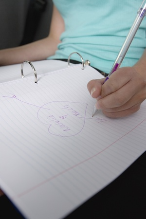 motorbus: Girl Drawing Heart Shape with Crushs Name