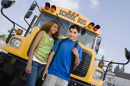 13 year old boy: Teenagers by School Bus
