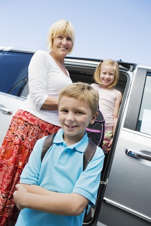 50 to 55 year olds: Mother Driving Children to School