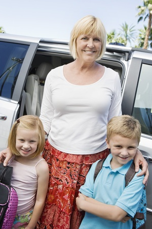 age 50 55 years: Mother Driving Children to School