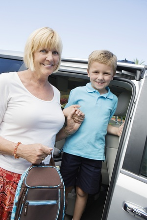 Mother Driving Son to School Stock Photo - 12736449