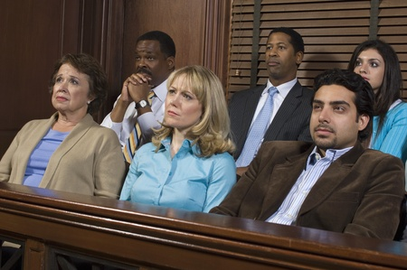 jury box: Jurors in courtroom during trial