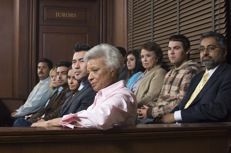Jurors sitting  in courtroom Stock Photo
