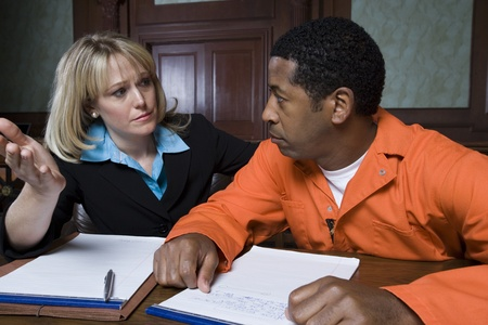 criminal lawyer: Lawyer with criminal in court