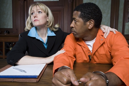 Lawyer with criminal in court Stock Photo - 12736598