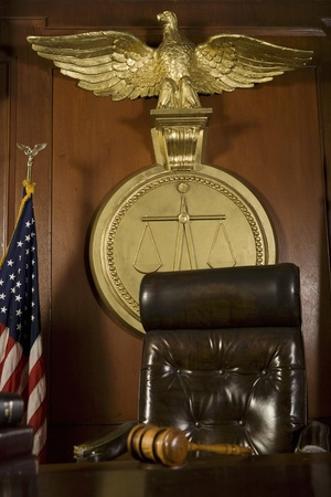court room: Gavel near judges chair in court room
