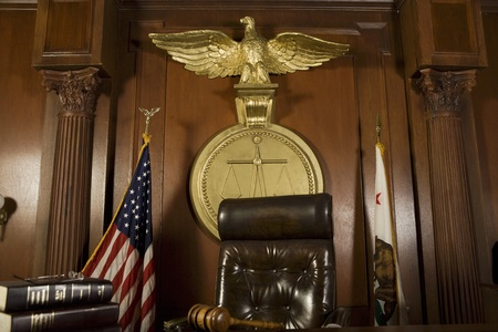 Judges chair in court room Stock Photo - 12736605