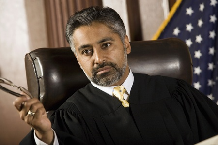 Middle-aged judge in a courtroom Stock Photo - 12736665