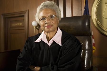 female judge: Female judge sitting in court portrait