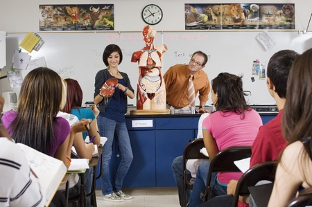 Student Giving Presentation in Science Class Stock Photo