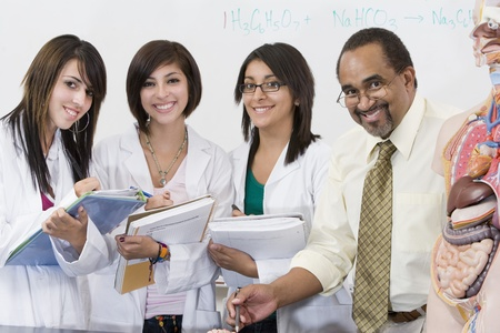 biology instruction: Teacher and Students in Science Lab
