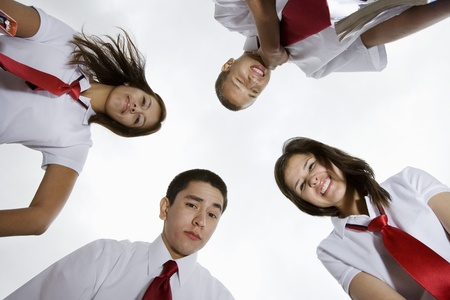 view from below: High School Students Looking Down LANG_EVOIMAGES