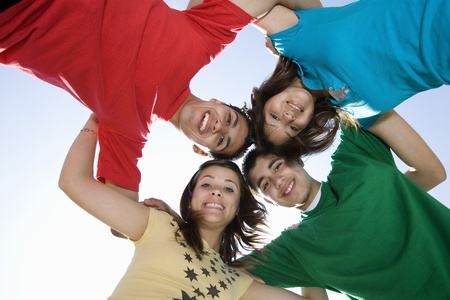 teenaged boys: High School Students in a Huddle