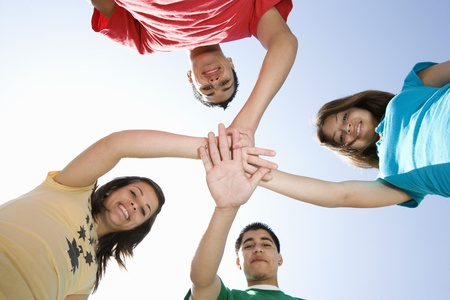 High School Students Touching Hands Stock Photo - 12736790
