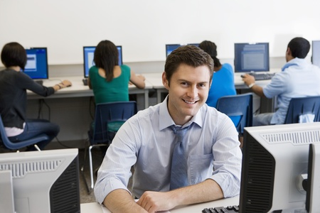 High School Teacher in Computer Lab Stock Photo - 12736848
